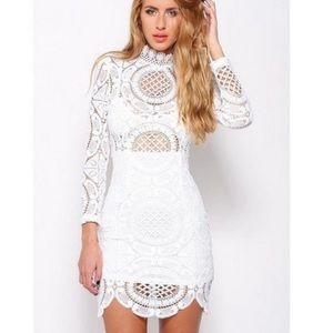 The Vintage Shop White Boho Crochet Mini Dress